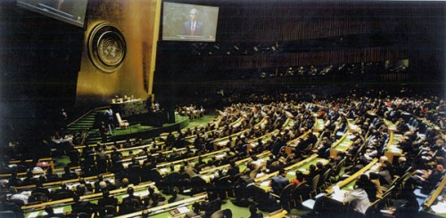 President Bush Addressing The U.N. by Luc Delahaye